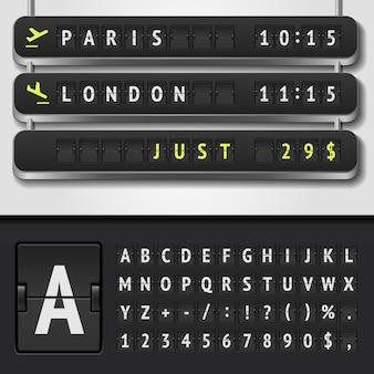 Illustration de l'horaire de l'aéroport réaliste et de l'alphabet du tableau de bord