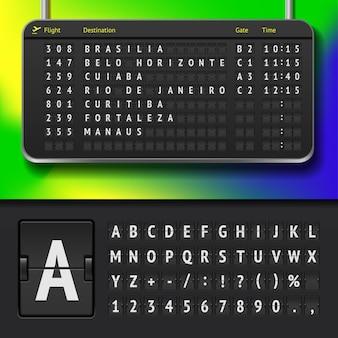 Illustration de l'horaire de l'aéroport avec les villes brésiliennes et l'alphabet du tableau de bord
