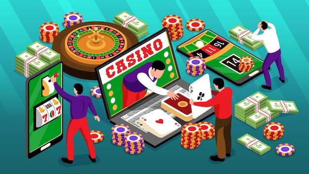 Illustration horizontale de casino en ligne isométrique