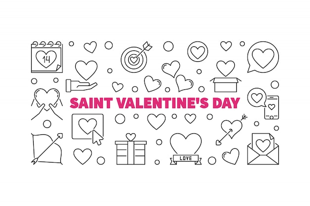 Illustration horizontale de contour saint valentin