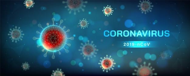 Illustration horizontale de coronavirus. cellule virale en vue microscopique