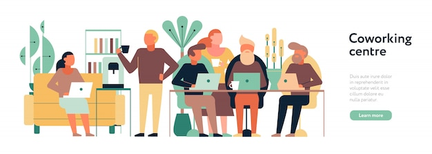 Illustration horizontale du centre de coworking