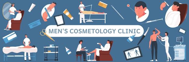 Illustration horizontale plate de cosmétologie homme