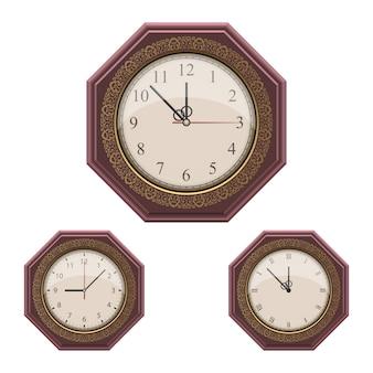 Illustration d'horloge murale vintage isolé sur blanc