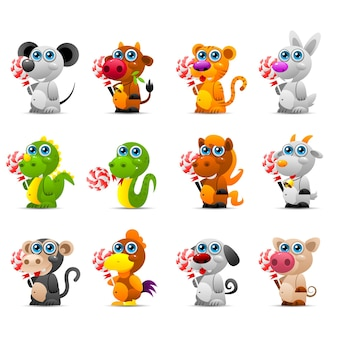 Illustration horoscope chinois jouets animaux avec bonbons au sucre, format eps 10