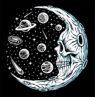 Illustration d'horreur de lune crâne