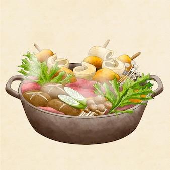 Illustration de hot pot aquarelle