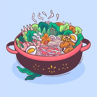 Illustration de hot pot dessinée à la main