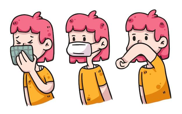 Illustration d'hygiène convenable fille covid-19