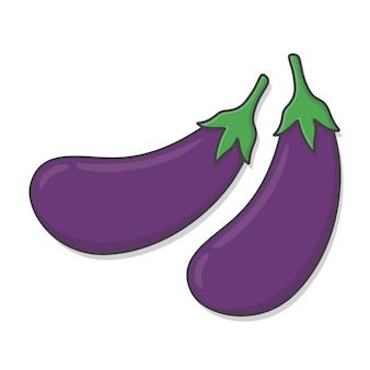 Illustration d'icône d'aubergine fraîche. icône plate aubergine