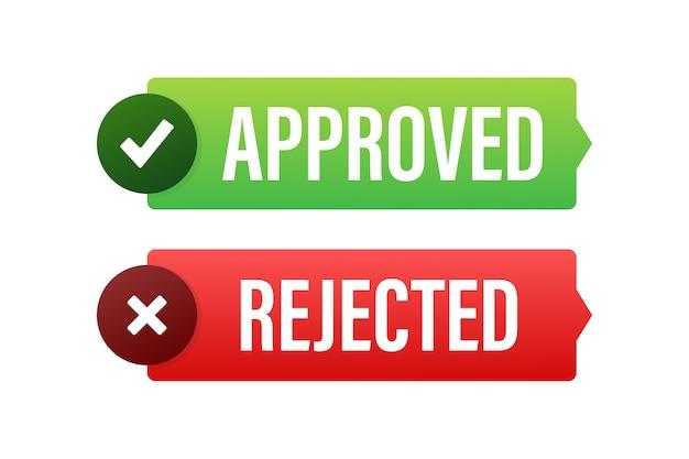 Illustration d'icône autocollant étiquette approuvée et rejetée