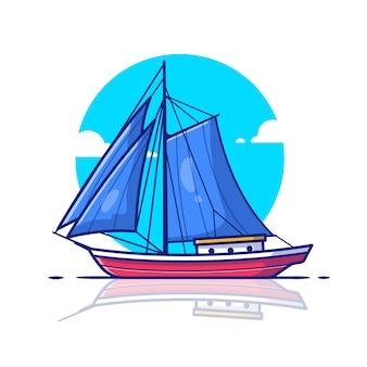 Illustration d'icône de bateau à voile. concept d'icône de transport de l'eau.