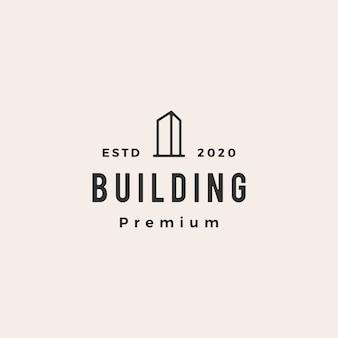 Illustration d'icône de bâtiment hipster logo vintage