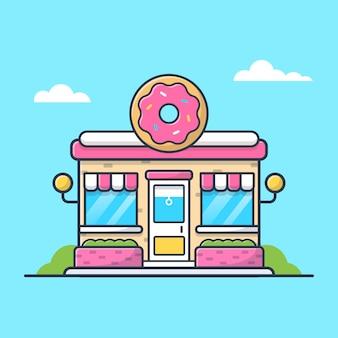 Illustration d'icône de boutique de beignets