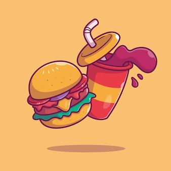 Illustration d'icône de burger et soda. concept de restauration rapide isolé