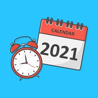 Illustration d'icône calendrier et horloge. icône plate de planification du temps