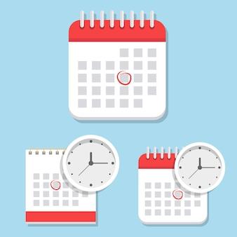 Illustration d'icône de calendrier isolé sur bleu