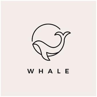Illustration d'icône de conception de logo monoline baleine