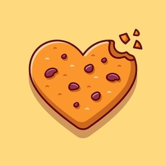 Illustration d'icône de dessin animé de biscuits au chocolat d'amour.