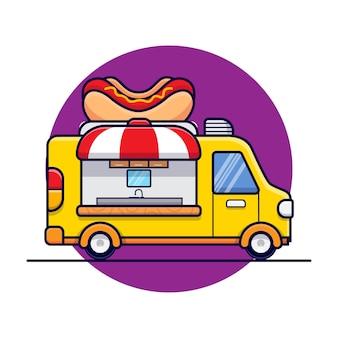 Illustration d'icône de dessin animé de camion de nourriture de hot-dog
