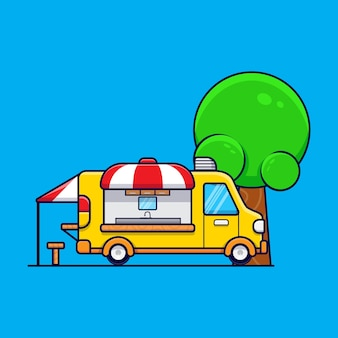 Illustration d'icône de dessin animé de camion de nourriture