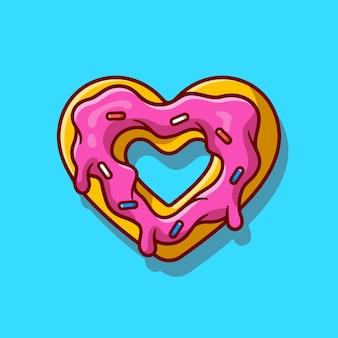Illustration d'icône de dessin animé fondu à la crème de beignet d'amour.