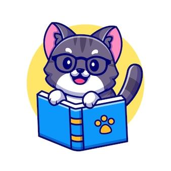 Illustration d'icône de dessin animé de livre de lecture de chat mignon.