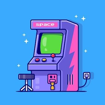 Illustration d'icône de dessin animé de machine d'arcade.