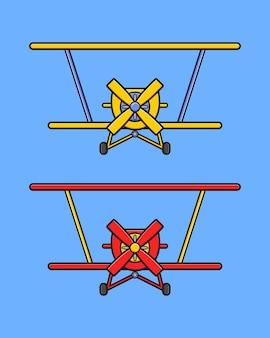 Illustration d'icône de dessin animé mignon avion aéro. concevoir un style cartoon plat isolé