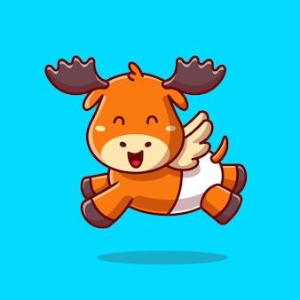 Illustration d'icône de dessin animé mignon bébé orignal en cours d'exécution. concept d'icône de nature animale isolé. style de bande dessinée plat