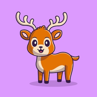 Illustration d'icône de dessin animé mignon cerf. concept d'icône de nature animale isolé. style de bande dessinée plat
