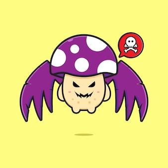 Illustration d'icône de dessin animé mignon champignon vénéneux volant. concevoir un style cartoon plat isolé