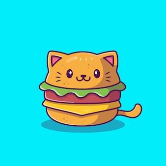 Illustration d'icône de dessin animé mignon chat burger. concept d'icône animale alimentaire isolé. style de dessin animé plat