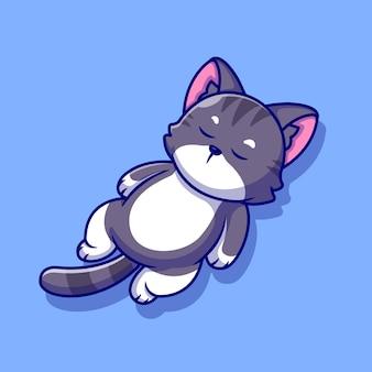 Illustration d'icône de dessin animé mignon chat endormi.