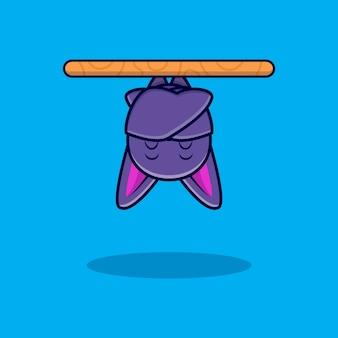 Illustration d'icône de dessin animé mignon chauve-souris dormant