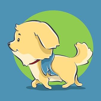 Illustration d'icône de dessin animé mignon chien jogging