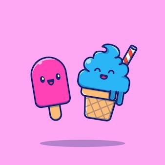 Illustration de l'icône de dessin animé mignon couple de crème glacée. concept d'icône de nourriture isolé. style de dessin animé plat