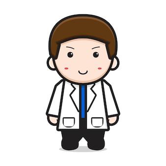 Illustration d'icône de dessin animé mignon docteur personnage. concept d'icône de la journée mondiale de la santé isolé. style de dessin animé plat