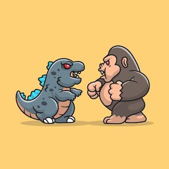 Illustration d'icône de dessin animé mignon godzilla fight kong.