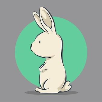 Illustration d'icône dessin animé mignon lapin debout