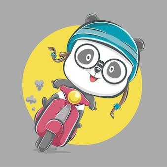 Illustration d'icône de dessin animé mignon panda équitation scooter