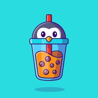 Illustration d'icône de dessin animé mignon pingouin lait thé boba.