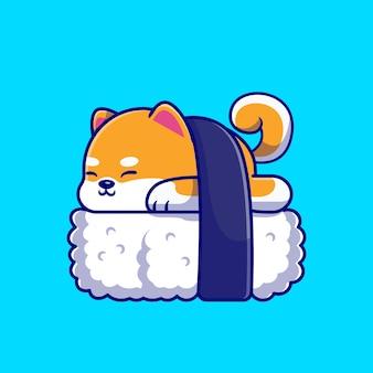 Illustration d'icône de dessin animé mignon shiba inu chien sushi.
