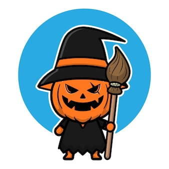 Illustration d'icône de dessin animé mignon sorcière citrouille