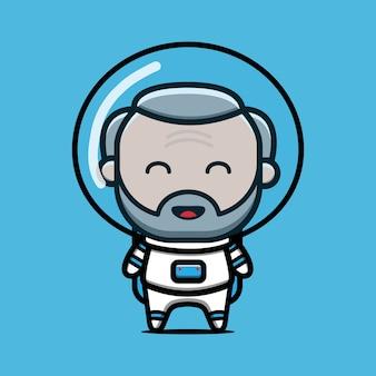 Illustration d'icône de dessin animé mignon vieux astronaute