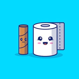 Illustration d'icône de dessin animé de papier hygiénique.