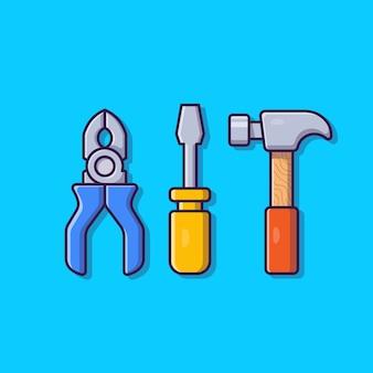 Illustration d'icône de dessin animé de pinces, marteau et tournevis. concept d'icône objet outils isolé. style de bande dessinée plat