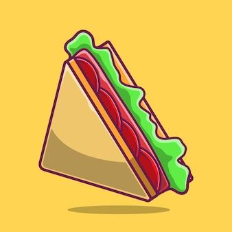 Illustration d'icône de dessin animé triangle sandwich