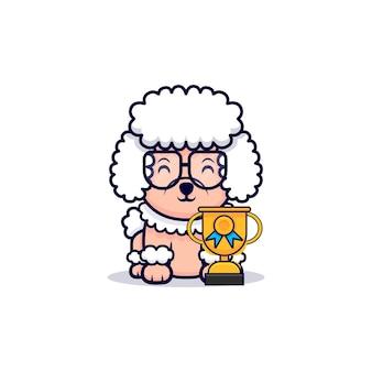 Illustration d'icône de dessin animé de trophée de chien caniche mignon