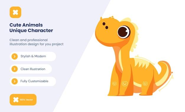 Illustration d'icône de dinosaure mignon. concept d'icône d'amour animal
